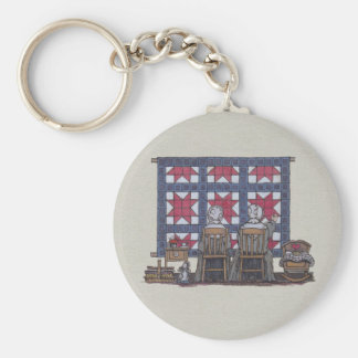 Amish Women Quilting Key Ring