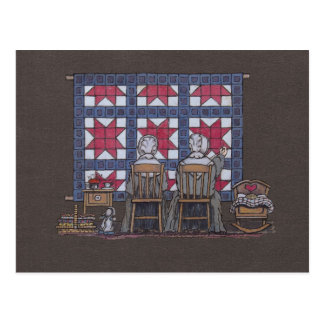 Amish Women Quilting Postcard