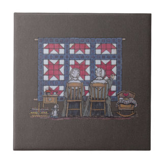 Amish Women Quilting Small Square Tile