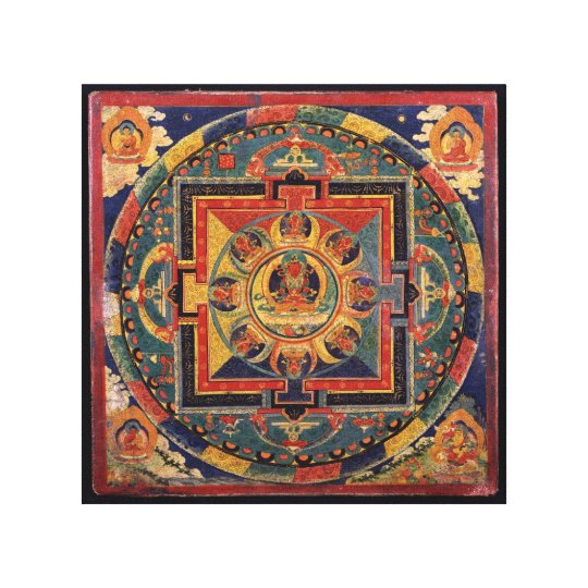 Amitayus mandala, 19th century Tibetan school Canvas Print