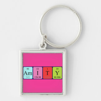 Amity periodic table name keyring Silver-Colored square key ring