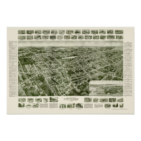 Amityville, NY Panoramic Map - 1925 Poster