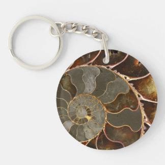 Ammonite Double-Sided Round Acrylic Key Ring