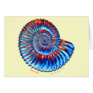 Ammonite fossil greeting card