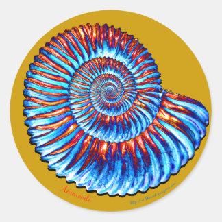 Ammonite fossil round sticker