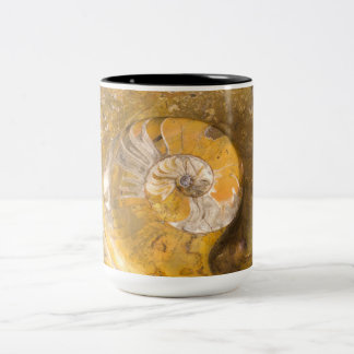 Ammonite & Other Fossils in Rock Two-Tone Mug
