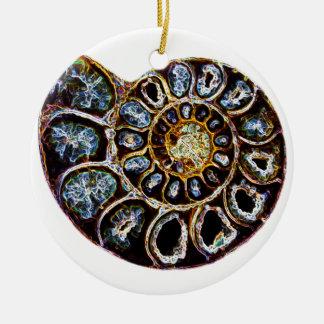 Ammonite Round Ceramic Decoration