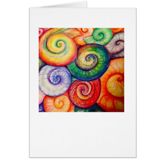 Ammonites in bright colours greeting card