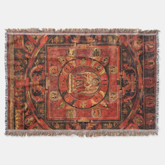 Amogapasha Mandala Thangka Throw Blanket