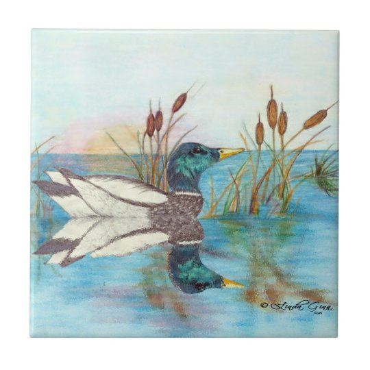 Among the Cattails Tile
