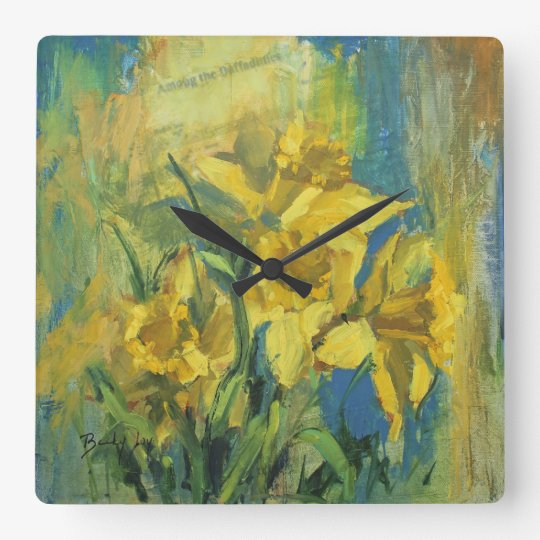 Among the Daffodils Square Wall Clock