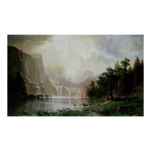 Among the Sierra Nevada Mountains by Bierstadt Poster