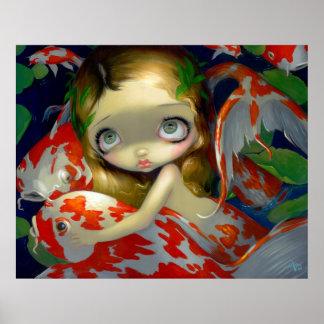 Amongst the Koi ART PRINT fish mermaid big eyes