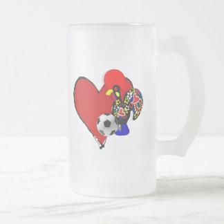 Amor, Barcelos, Futebol - Deus é Maravilhoso Frosted Glass Mug
