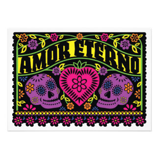 Amor Eterno Sugar Skulls Banner Custom Announcement
