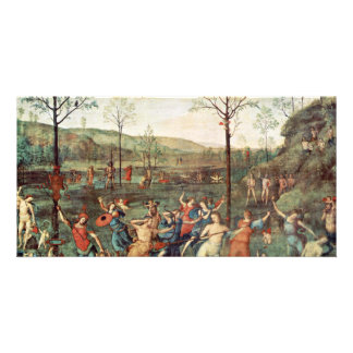 Amor Fight Against Chastity By Perugino Pietro Customized Photo Card