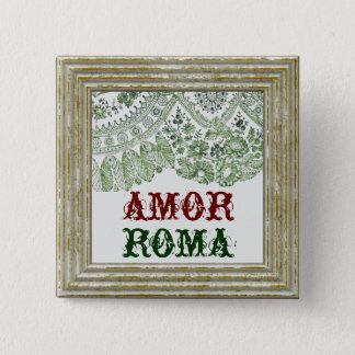 Amor Roma With Green Lace 15 Cm Square Badge