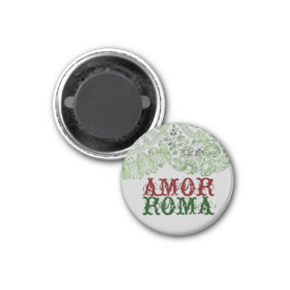 Amor Roma With Green Lace 3 Cm Round Magnet