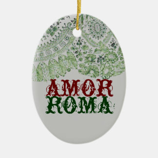 Amor Roma With Green Lace Ceramic Oval Decoration