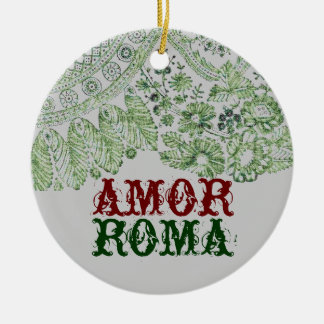 Amor Roma With Green Lace Round Ceramic Decoration