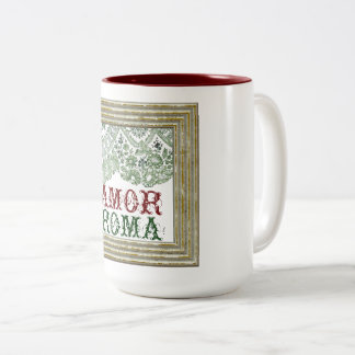 Amor Roma With Green Lace Two-Tone Coffee Mug