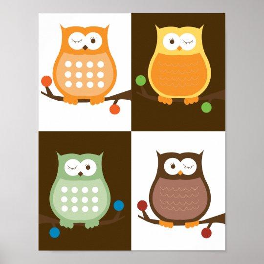 Amore Owls Pop Art Print 11 x 14