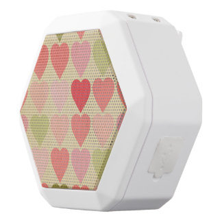 amore,retro,multi red,vintage,grunge heart,hearts, white boombot rex bluetooth speaker