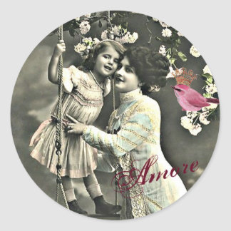 Amore, Vintage Inspire Mother's Day Envelope Seals Round Stickers