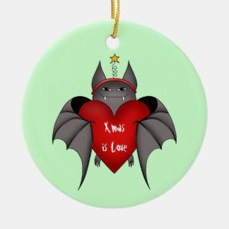 Amorous gothic Christmas bat Christmas Ornament
