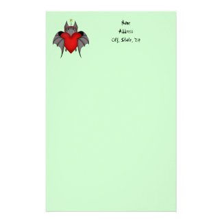 Amorous gothic Christmas bat with red heart Personalized Stationery