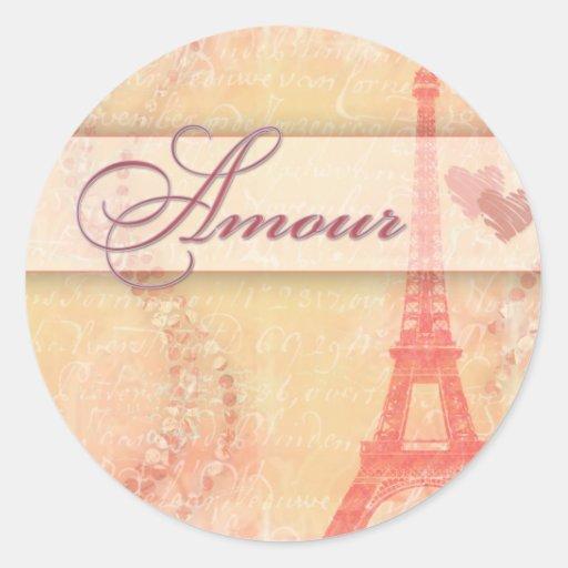 Amour in Paris Round Stickers