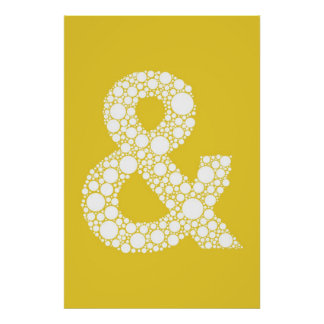 Ampersand (and symbol) Poster. Gray text on Yellow Poster