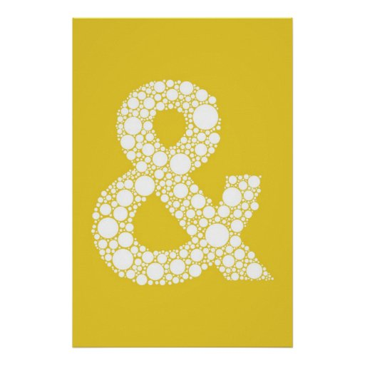 Ampersand (and symbol) Poster. Grey text on Yellow