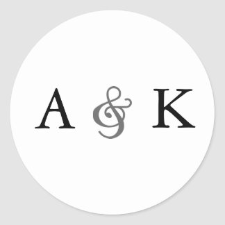 Ampersand Elegance: Gray Envelope Seals Round Sticker