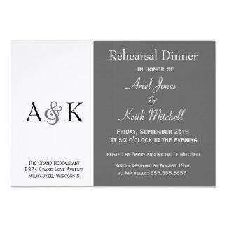 Ampersand Elegance Gray Rehearsal Dinner Invite