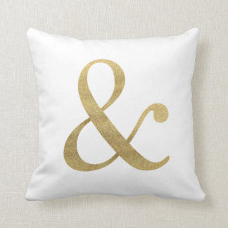 Ampersand Faux Gold Glitter Throw Pillow