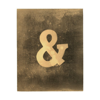 ampersand on wood rustic shabby chic style brown wood wall art