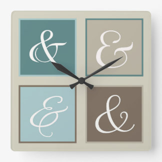 Ampersand Squares, Teal, Blue, Brown, Gray Square Wall Clock