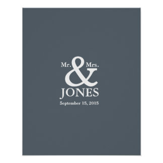ampersand wedding guest signing book choose color poster
