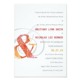 Ampersand Wedding Invitation in Red and Orange