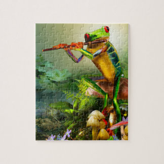 Amphibian, frog, playing the flute, puzzle