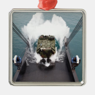 Amphibious assault vehicles disembark from USNS Silver-Colored Square Decoration