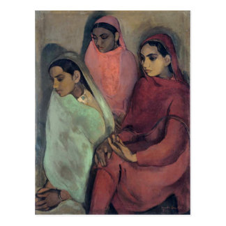 Amrita Sher-Gil painting, Three Girls Postcard