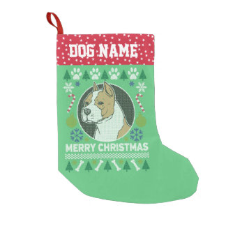 Amstaff Pit Bull Breed Ugly Christmas Sweater Small Christmas Stocking