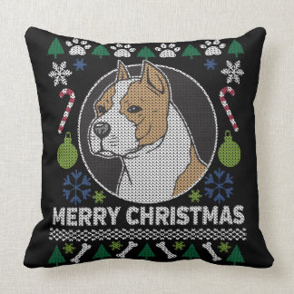 AmStaff Pit Bull Ugly Christmas Sweater Dog Cushion
