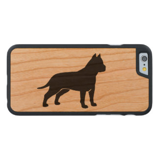 AmStaff Silhouette (Cropped Ears) Carved® Cherry iPhone 6 Case