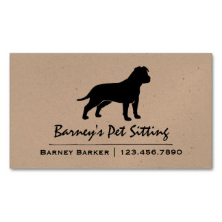 AmStaff Silhouette (Floppy Ears) Magnetic Business Cards