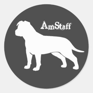 AmStaff with Floppy Ears Round Sticker