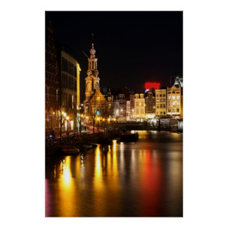 Amsterdam at night  in Amsterdam Netherlands Poster