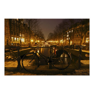 Amsterdam at night in the Netherlands Poster